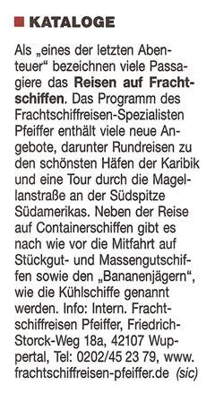Internationale Frachtschiffreisen Pfeiffer - Presseberichte - Hamburger Abendblatt 26.01.2008