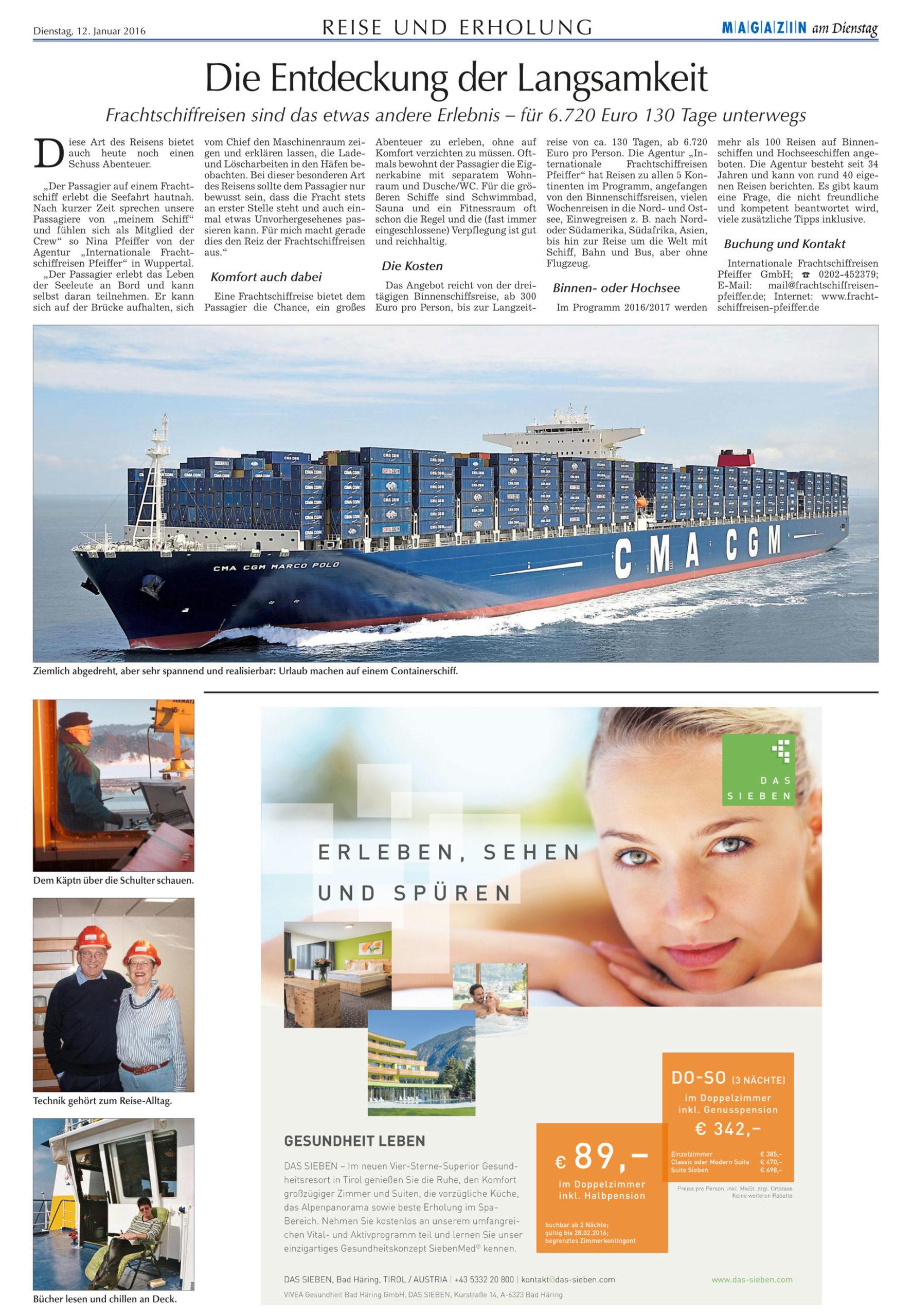Internationale Frachtschiffreisen Pfeiffer - Presseberichte - Straubinger Tagblatt 12.01.2016