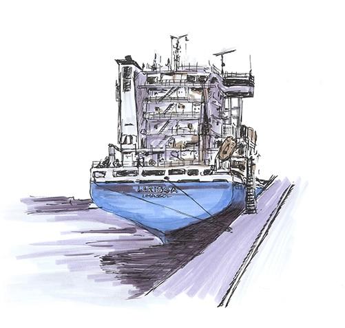 Internationale Frachtschiffreisen Pfeiffer - Einsendungen von Kunden - Frachtschiff gemalt